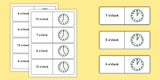 O'clock Time Dominoes - maths, numeracy, clocks, matching, comparing, analogue, KS1, KS2