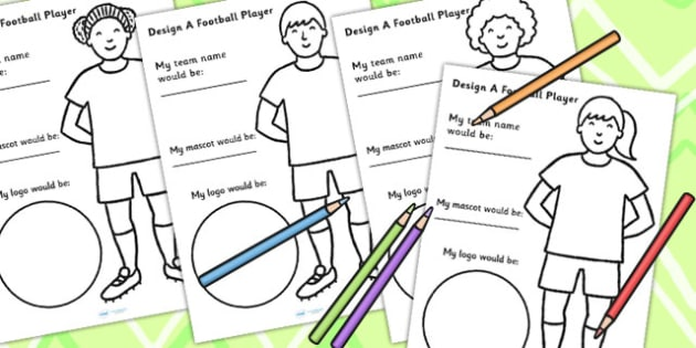 design a football player worksheet world cup sport pe