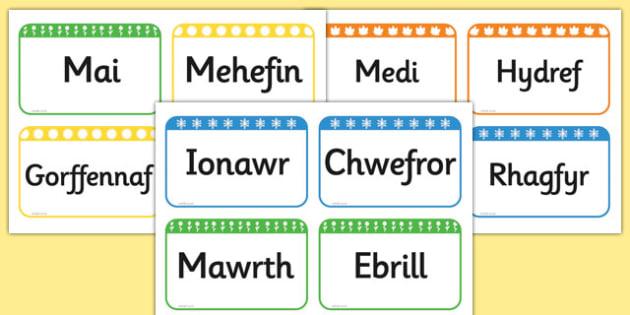 Months of the Year Flashcards Cymraeg - cymraeg, months, year, flashcards
