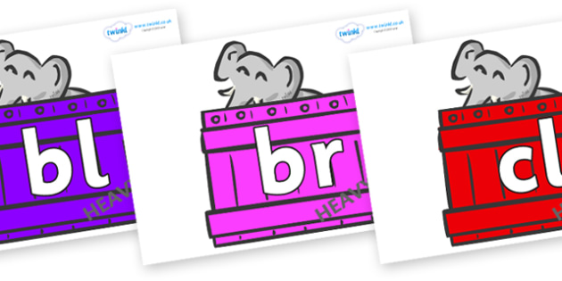 Initial Letter Blends on Elephants (Crate) to Support Teaching on Dear Zoo - Initial Letters, initial letter, letter blend, letter blends, consonant, consonants, digraph, trigraph, literacy, alphabet, letters, foundation stage literacy