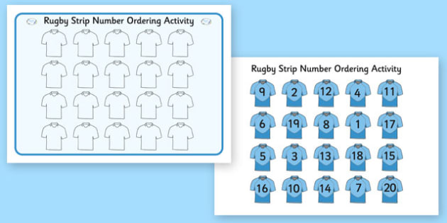 Rugby Strip Number Ordering Activity - rugby strip, number, ordering