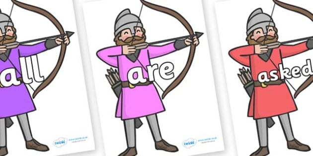 Tricky Words on Archers - Tricky words, DfES Letters and Sounds, Letters and sounds, display, words