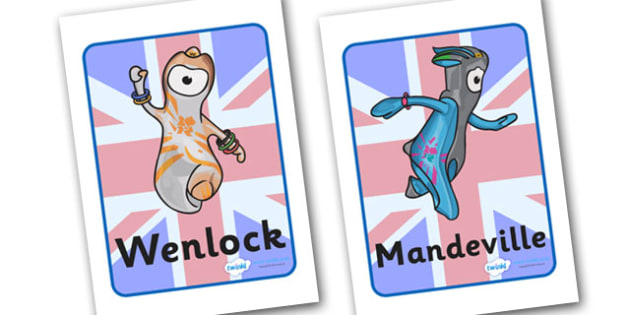London 2012 Mascots Display Posters - Olympics, Olympic Games, sports, Olympic, London, 2012, display, banner, poster, sign, Olympic torch, flag, countries, medal, Olympic Rings, mascots, flame, compete, tennis, athlete, swimming, race,