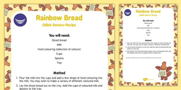 Rainbow Bread Edible Sensory Recipe