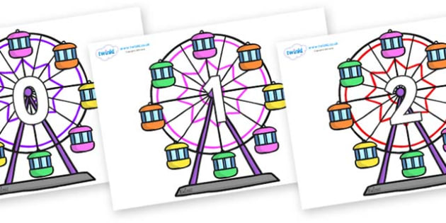 Numbers 0-50 on Ferris Wheels - 0-50, foundation stage numeracy, Number recognition, Number flashcards, counting, number frieze, Display numbers, number posters