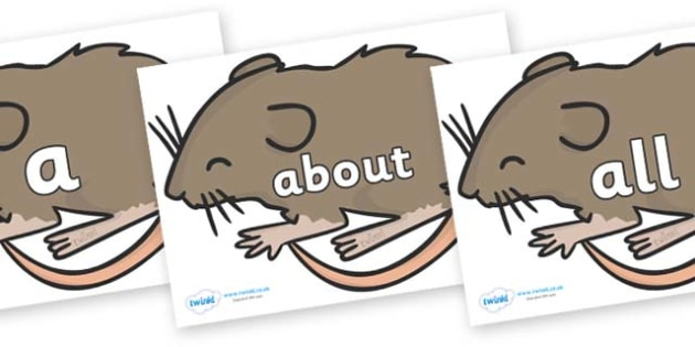 100 High Frequency Words on Mice - High frequency words, hfw, DfES Letters and Sounds, Letters and Sounds, display words