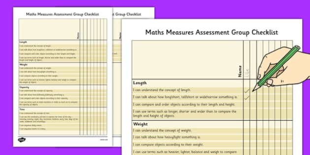 1999 Curriculum Junior Infants Maths Measures Assessment Group Checklist - roi, irish, gaeilge, assessment checklist, maths, junior infants, measures