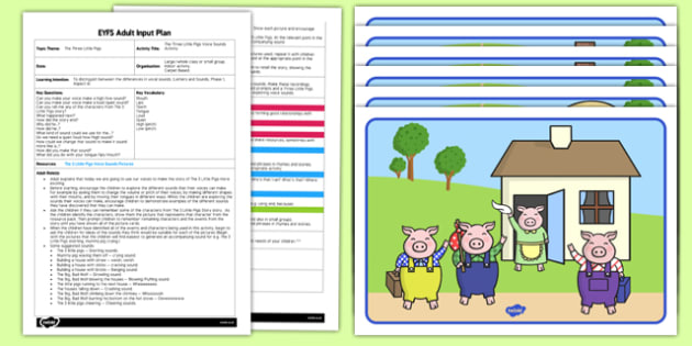 Three Little Pigs Voice Sound EYFS Adult Input Plan Resource Pack