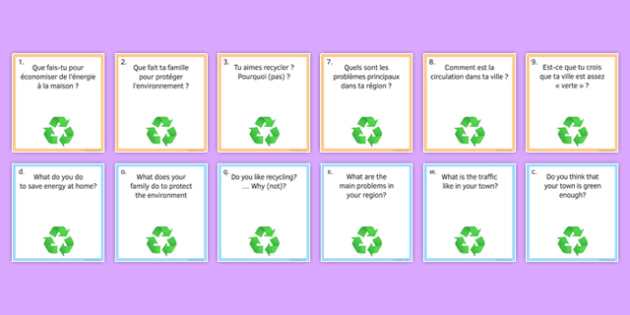 General Conversation Question Pair Cards Global Issues - french, Conversation, Speaking, Questions, Environment, Environnement, Planet, Planète, Energy, énergie, Recycling, Recyclage, Poverty, Pauvreté, Homeless, SDF, Sans-abri, Cards, Cartes