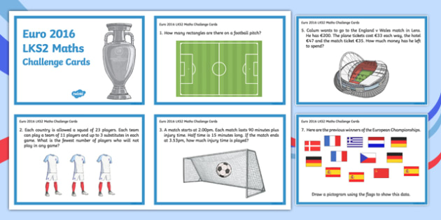 Euro 2016 LKS2 Maths Challenge Cards