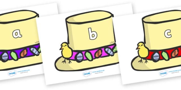 Phase 2 Phonemes on Easter Bonnets - Phonemes, phoneme, Phase 2, Phase two, Foundation, Literacy, Letters and Sounds, DfES, display