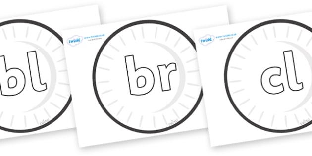 Initial Letter Blends on Circles (Plain) - Initial Letters, initial letter, letter blend, letter blends, consonant, consonants, digraph, trigraph, literacy, alphabet, letters, foundation stage literacy