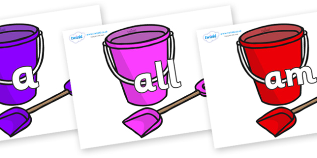 Foundation Stage 2 Keywords on Spade and Buckets - FS2, CLL, keywords, Communication language and literacy,  Display, Key words, high frequency words, foundation stage literacy, DfES Letters and Sounds, Letters and Sounds, spelling