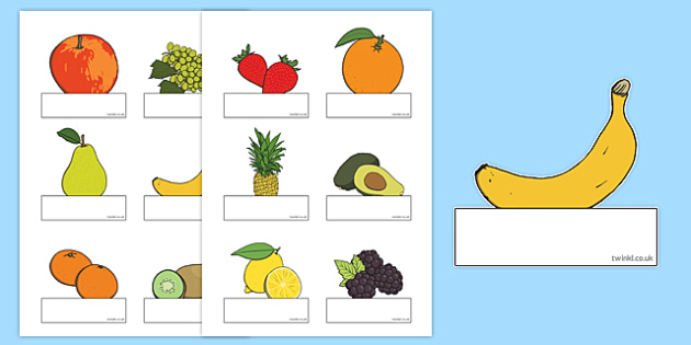 Editable Self Registration Labels (Fruit) - Self registration, register, fruit, editable, labels, registration, child name label, printable labels