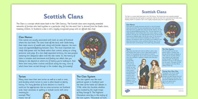 Scottish Clans Fact Sheet - cfe, scottish clans, fact sheet, facts, scottish
