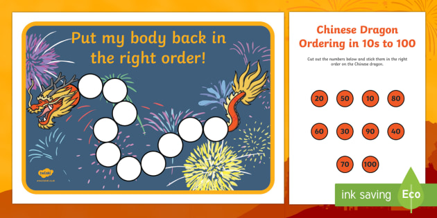 Chinese Dragon Ordering in 10s to 100 Activity Sheet