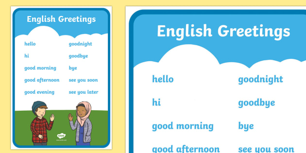 English Greetings A4 Display Poster