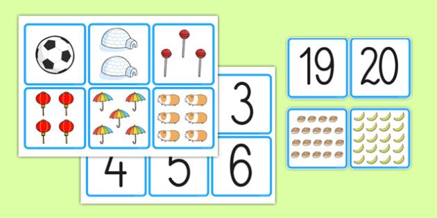 1-20-Karty Dopasuj do siebie Liczby i obrazki