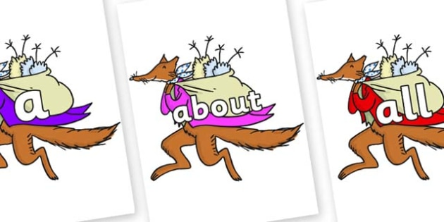 100 High Frequency Words on Mr Fox to Support Teaching on Fantastic Mr Fox - High frequency words, hfw, DfES Letters and Sounds, Letters and Sounds, display words