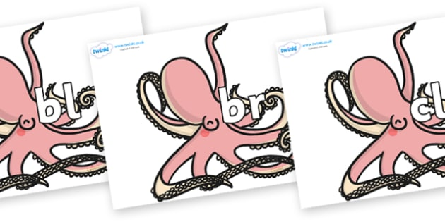 Initial Letter Blends on Octopuses - Initial Letters, initial letter, letter blend, letter blends, consonant, consonants, digraph, trigraph, literacy, alphabet, letters, foundation stage literacy
