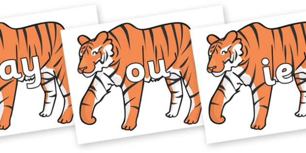 Phase 5 Phonemes on Chinese New Year Tiger - Phonemes, phoneme, Phase 5, Phase five, Foundation, Literacy, Letters and Sounds, DfES, display
