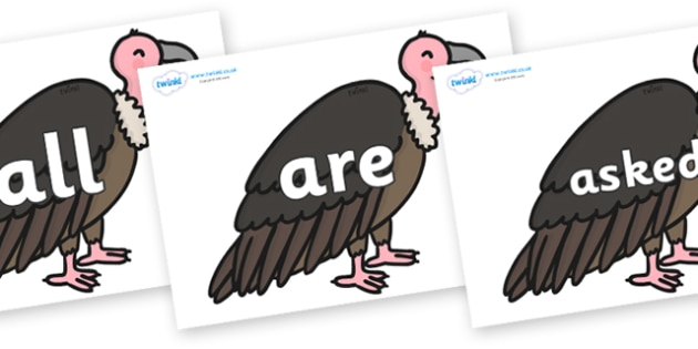 Tricky Words on Vultures - Tricky words, DfES Letters and Sounds, Letters and sounds, display, words