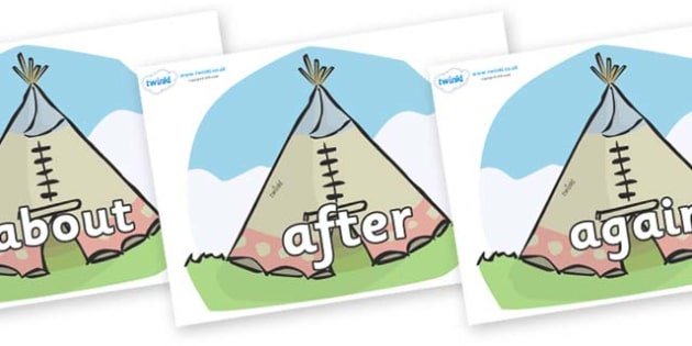 KS1 Keywords on Tipis - KS1, CLL, Communication language and literacy, Display, Key words, high frequency words, foundation stage literacy, DfES Letters and Sounds, Letters and Sounds, spelling