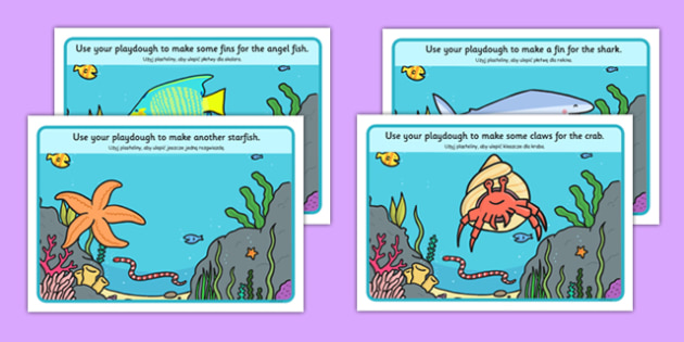 Under the Sea Playdough Mats Polish Translation - sea, seaside, fish, shark, crab, shell, ocean, beach, Polish, Poland, EAL, playdough, dough, make, fine motor, bilingual