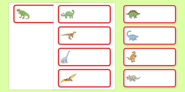 Editable Drawer Peg Name Labels Dinosaurs Classroom