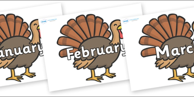 Months of the Year on Turkeys - Months of the Year, Months poster, Months display, display, poster, frieze, Months, month, January, February, March, April, May, June, July, August, September