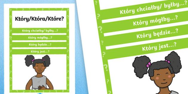 Plakat z pytaniami Który? po polsku