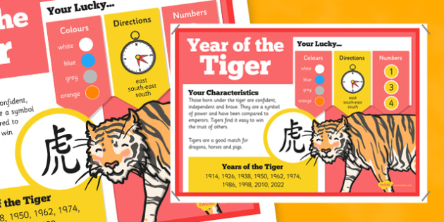 Chinese New Year of the Tiger Display Poster - chinese new year, display poster, information, year of the tiger