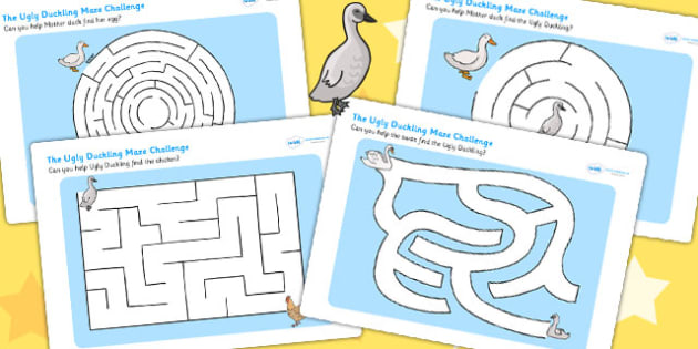 The Ugly Duckling Differentiated Maze Activity Sheet Pack - mazes, worksheet