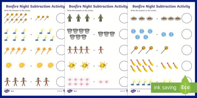 Bonfire Night Fireworks Subtraction Worksheet - subtract, bonfire