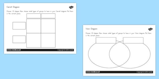 Shapes Carrol Venn Diagram Worksheets Higher Ability - australia