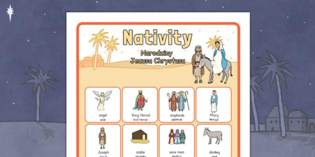 Nativity Vocabulary Poster Polish Translation - polish, nativity, vocabulary, poster, display, christmas