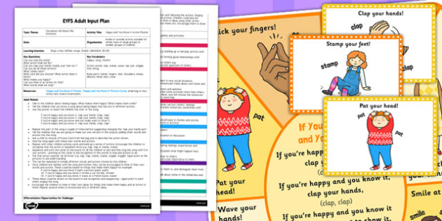 Happy and You Know It Action Rhyme EYFS Adult Input Plan and Resource Pack