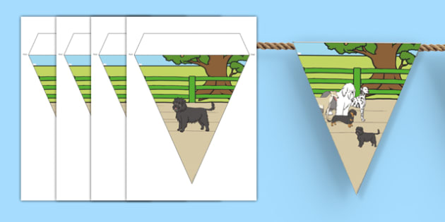 Dog Themed Display Bunting - Dame Lynley Dodd, hairy maclary, dog, display bunting, display, bunting