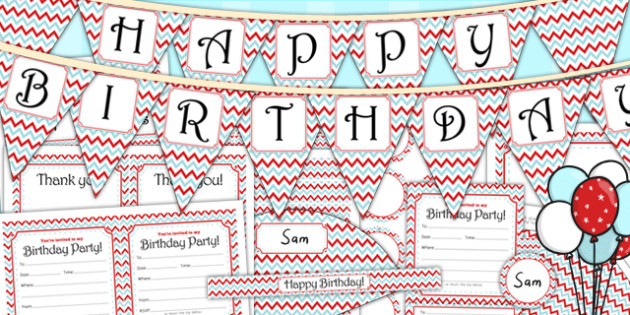 Zig Zag Birthday Party Pack Red And Blue - birthdays, parties