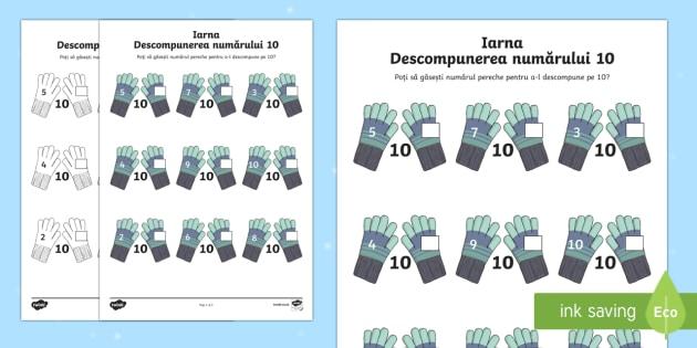 Iarna Descompunerea numărului 10 - iarnă, 0-10, descompunerea numărului 10, matematică, adunări, scăderi, numerație, materiale, f