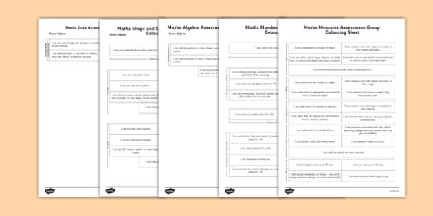 1999 Curriculum Senior Infants Maths Measures Assessment Group Colouring Sheet Pack - assessment checklist, maths, senior infants, group