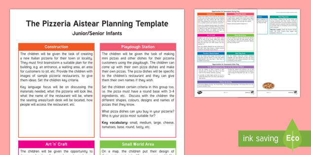 The Pizzaria Aistear Planning Template-Irish - Aistear, Infants, English Oral Language, School, The Garda Station, The Hairdressers, The Airport, T