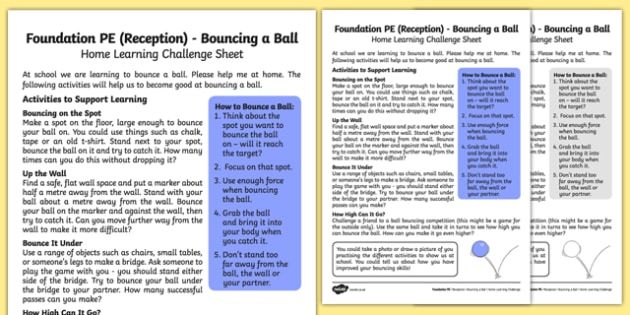 Foundation PE (Reception) - Bouncing a Ball Home Learning Challenge Sheet - EYFS, PE, Physical Development, Planning