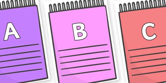 A-Z Alphabet on Notepads - A-Z, A4, display, Alphabet frieze, Display letters, Letter posters, A-Z letters, Alphabet flashcards