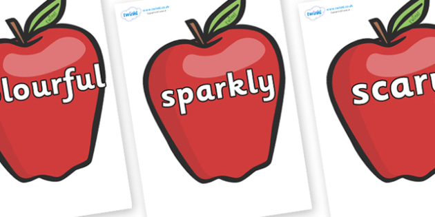 Wow Words on Red Apples - Wow words, adjectives, VCOP, describing, Wow, display, poster, wow display, tasty, scary, ugly, beautiful, colourful sharp, bouncy