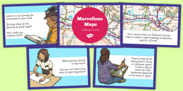 Marvellous Maps Challenge Cards - marvellous maps, challenge, cards