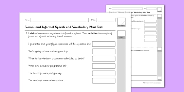 Recognising and Using Formal and Informal Vocabulary Test - GPS, speech, grammar, test