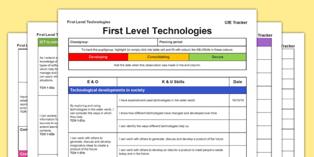 Technologies CfE First Level Tracker - CfE, planning, ICT, computers, food, textiles, technology, resource conservation, I can, Second