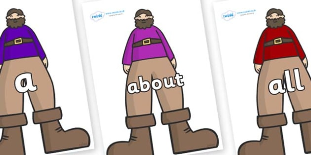 100 High Frequency Words on Giants - High frequency words, hfw, DfES Letters and Sounds, Letters and Sounds, display words