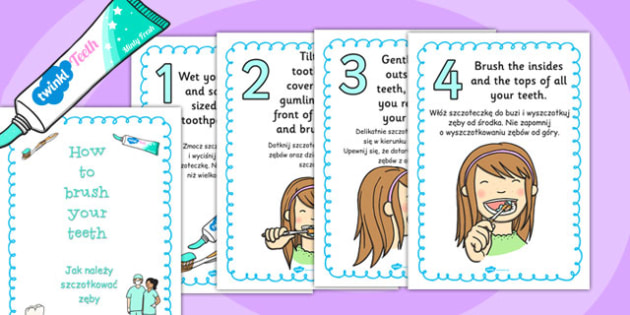 How to Brush Your Teeth Posters Polish Translation - polish, how, brush, teeth, posters